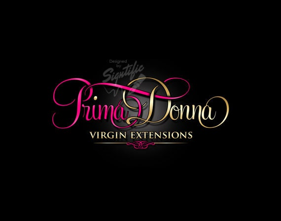 hair extensions logo beauty salon logo pink and gold logo