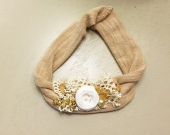 Neutral organic stretchy knit headband, photography prop size 0-12 months