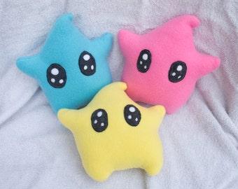 Luma Star Plush Princess Rosalina Peach Mario Video Game Gamer Gaming Handmade Plushie Toy Kawaii Cute Pink Blue Yellow Stars Gift Ideas