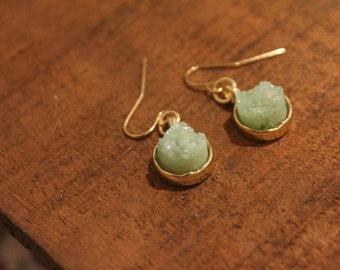 Mint Coloured Druzy Drop Earrings