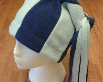 Handmade fleece adult hat, blue stripes, long tassels, variety of colours available