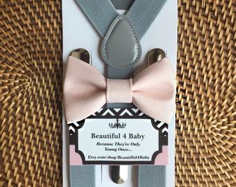 Blush Baby Boy Bow Tie, Blush Toddler Bow Tie, Blush Pink Bow Tie & Gray Suspender Set, 6 Months to 5 Years Old