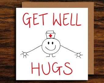 Cute Get Well Card ∙ Unique Illustration Get Well Soon Greeting Card ∙ Funny Get Well Card