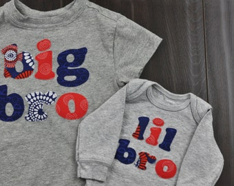 Big Bro, Lil Bro - Matching Big Brother, Little Brother Shirt Set, Sibling Set, New Baby Announcement