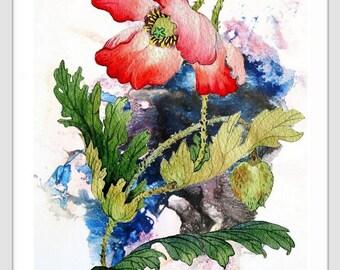 Flower art print, poppy painting art, poppy art, poppy watercolor art, red poppies, floral wall art, flowers art print, flower print 022