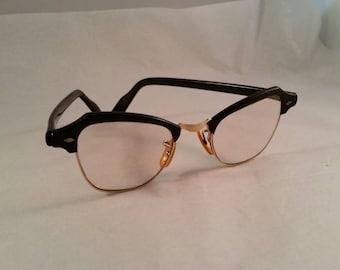 Bausch Lomb Vintage Cat Eye Glasses Black Gold 1950s 60s Eyeware