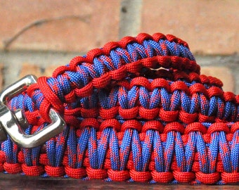 Royal Blue & Red Paracord 6ft Dog Leash