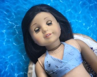 Blue Petal Patterned Bikini