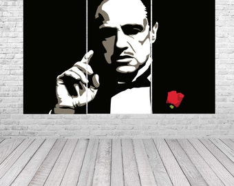 The Godfather - Don Corleone Hand Painted Canvas Pop Art Oil Painting Gallery Wrapped Wall Art