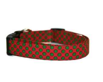Holiday Polka Dots Dog Collar