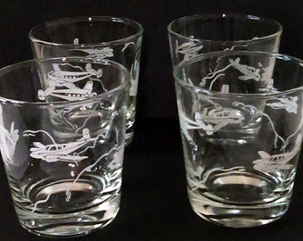 4 Vintage 1950's Flying Aircraft Drinking Glasses