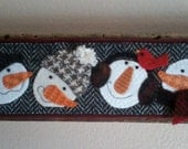 Wool Applique Snowmen on Barnwood