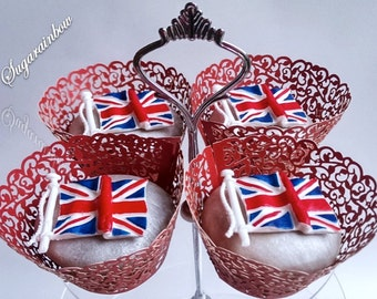 6 Edible sugar UK flag United Kingdom British flag cupcake cake decorations