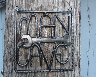 Salvaged rebar man cave sign, rebar art, gift for him, welded