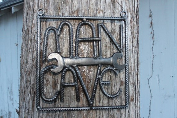 Salvaged Rebar Man Cave Sign Rebar Art Gift For Him Welded