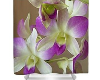 Shower curtain, orchid, purple, white orchid, bathroom