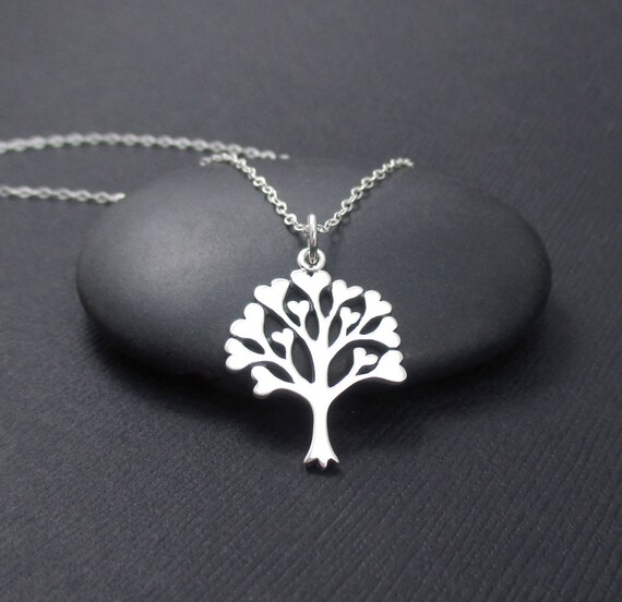 Tree Of Love Necklace Sterling Silver Tree Of Hearts