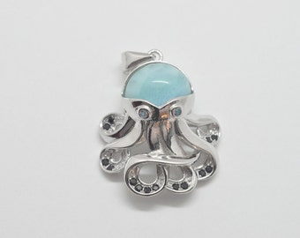 Larimar 10mm Natural Beautiful Octopus Pendant .925 Sterling Silver