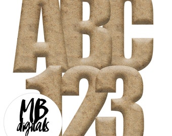 BEACH SAND, 3D Alphabet, Clip Art