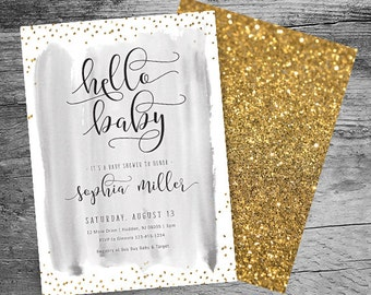 Hello Baby - Baby Shower Invitation - Hello Baby Baby Shower - Gold Confetti - Gender Neutral - Boy OR Girl Baby Shower - Printable - 5x7