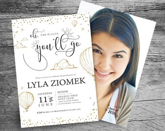 Graduation Invitation - Oh, the Places You'll Go Graduation Invitation - 2017 Graduation Announcement - Gender Neutral Graduation Invitation