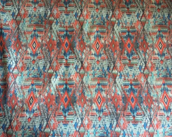 Geometric printed jacquard with stretch, made in France, price is per yard, 50 inches wide