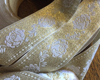 White and Gold Floral Brocade Ribbon, 1 5/8 inches wide, white design with iridescent gold background