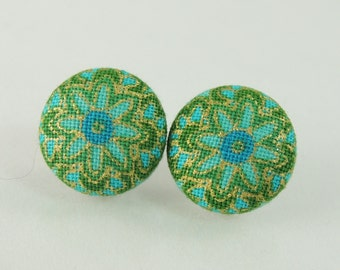 Green and gold flower fabric button earrings