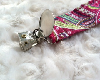 Pink Paisley Fabric PACIFER CLIP ~baby shower gift, universal, nuk, soothie, mam~