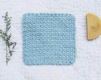 Organic Cotton Washcloth, Crocheted Blue Washcloth, Soft Spa Cloth, Eco-friendly Washcloth, Bath Cloth, All Natural Face Cloth