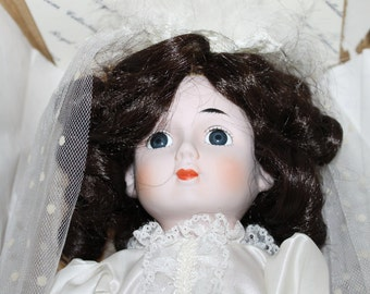 Vintage Porcelain Curly Brown Hair Doll, NEW in Box, She is Still Wrapped in Original Wrapping, Royal Heirloom Collection, Wedding Dress