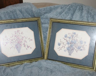 A Pair Of Framed Floral Prints by C WINTERLE OLSON Ready to Hang, 16.5 by Almost 14.5, Both Signed, Art Work, Framed ArtWork Home Decoration