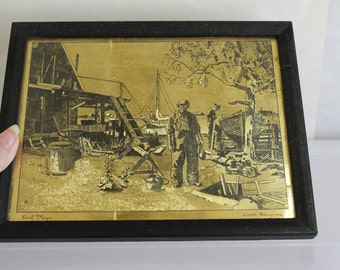 Signed Lionel Barrymore Etchings on Gold Foil, Point Mugu is The Place of The Etching, Mid - Century Maybe Earlier, Very Collectible