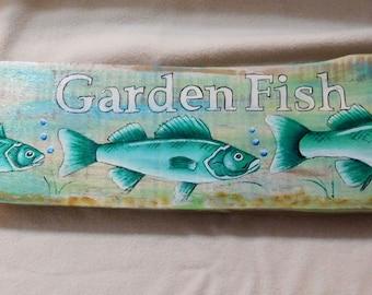 Garden Perch; Whimsical garden decoration; Fish; Perch; antique wood; oak;