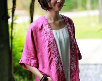 Pink linen embroidered kimono coats jackets  BonLife