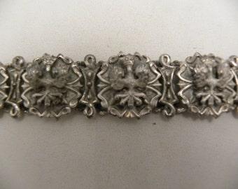 Unique Vintage Signed Lisner Crowned Eagle Ornate Bracelet