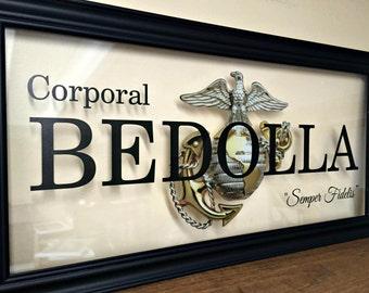 Marine Corps, Marine Girlfriend, Custom Family Gift, Military Gifts, US Marines, Deployment Gift,  Marine Mom, Marine Wife, Marine Family,