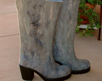 Valenki Hand Felted High Boots out of 100% Merino Wool OOAK eco-friendly footwear