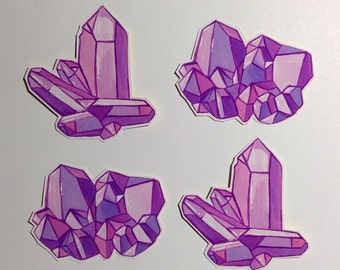 Set of 2 Amethyst Cluster Stickers