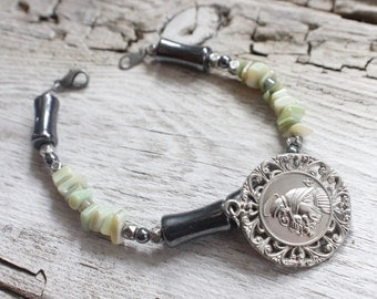 upcycled Bracelet, jewelry, handmade, medallion, Saint Joseph, patron saint of workers, medal , magnetic hematite, reclaimed jewelry