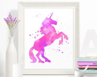 INSTANT DOWNLOAD // Watercolor Pink and Lavender Unicorn Nursery // Printable Digital Wall Art // 5x7, 8x10, 11x14  // 55585ID