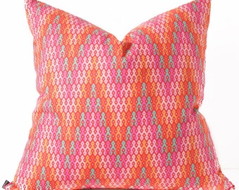 Pink chevron pillow cover - Pillow in bright pink, orange, turquoise - Ombre pillow cover,  Boho Zig Zag toss accent throw pillow