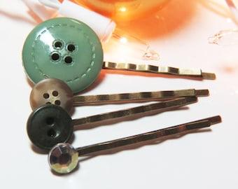 Stocking Stuffers - Bobby Pin Sets - Hair Pin Sets - Button Bobby Pin Sets - Button Hair Pin Sets - Button Bobby Pins - Green Bobby Pin