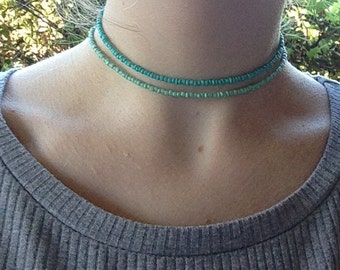 Light green or teal beaded choker necklace