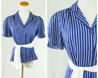 Belted Blouse Blue Striped 70's // Short Sleeve Button Down Top Large Secretary Style