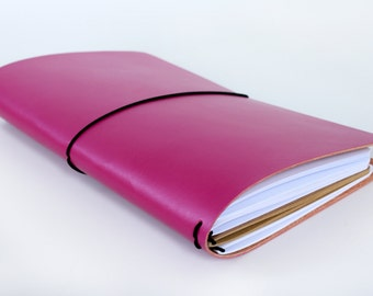 Leather Fauxdori - Traveler's notebook - Pink Fauxdori cover - leather notebook - refillable journal - refillable notebook - travel journal