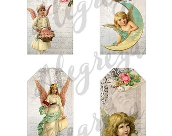 9 Large vintage angel tags ready for instant download.  Each tag is 6.4 cm x 10.8 cm