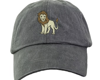 Lion Hat - Embroidered. Lion Cap. Zoo Jungle Animal Hat. King Of The Jungle Hat. Adjustable Leather Strap. More Colors. HER-LP101