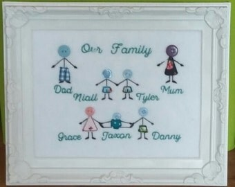 Button Figure Applique Family Tree
