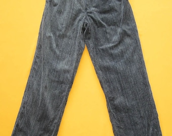 Polo by Ralph Lauren Pants Vintage Gray Corduroy 90s Cotton Classic Slacks Pleated Trouser Made In USA (21/04)